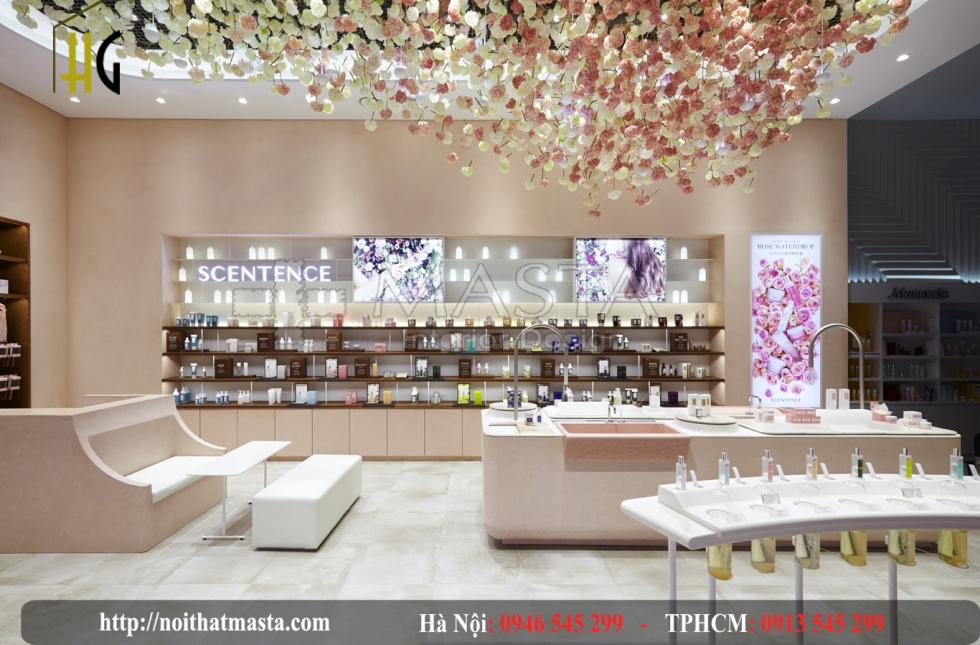 Màu sắc và ánh sáng nhẹ nhàng tạo nên không gian trang nhã của shop mỹ phẩm