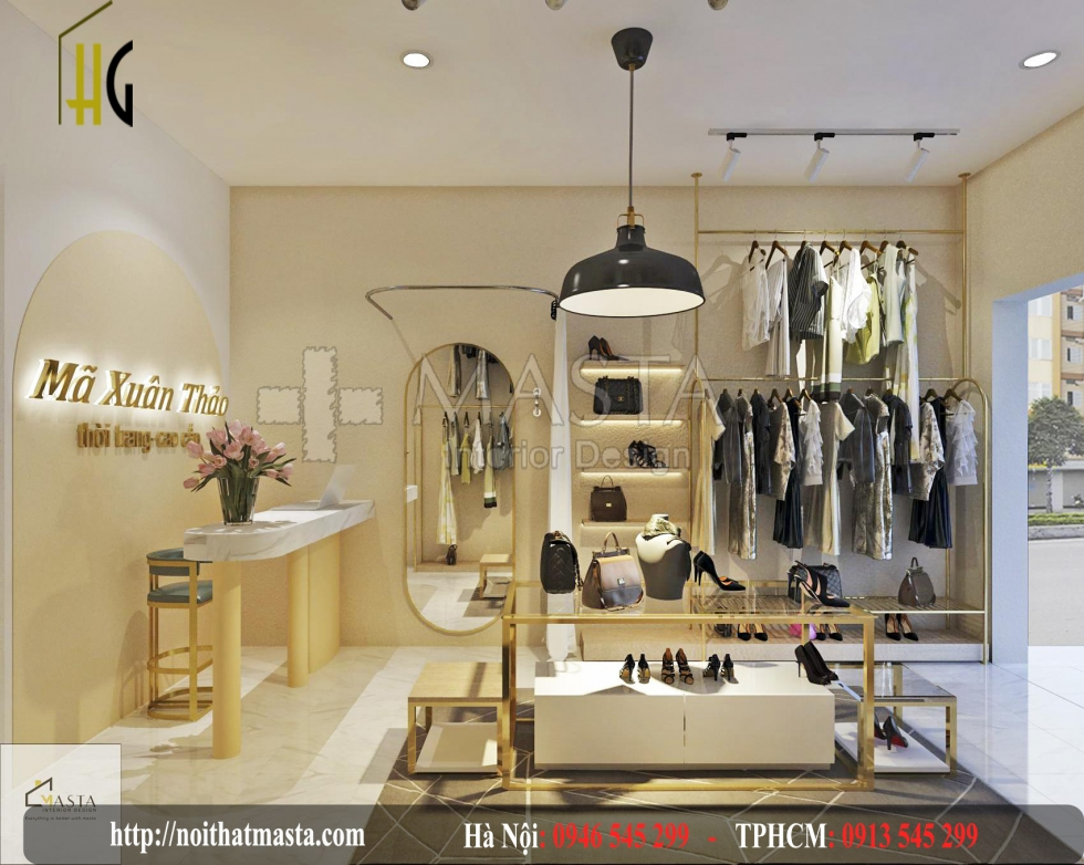 thiết kế nội thất shop thời trang đẹp