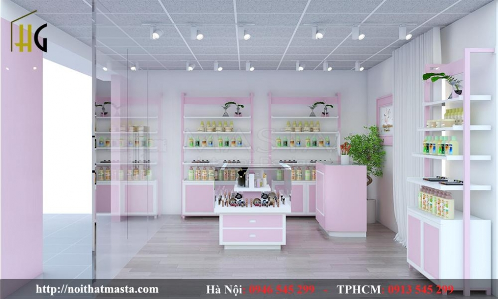 mẫu nội thất shop mỹ phẩm