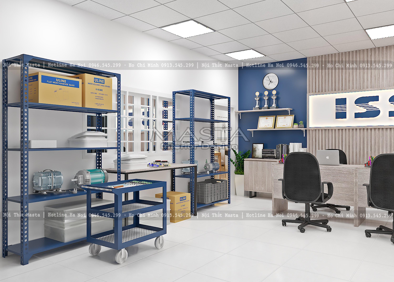 Kệ và bàn trưng bày sản phẩm được thiết kế đơn giản
