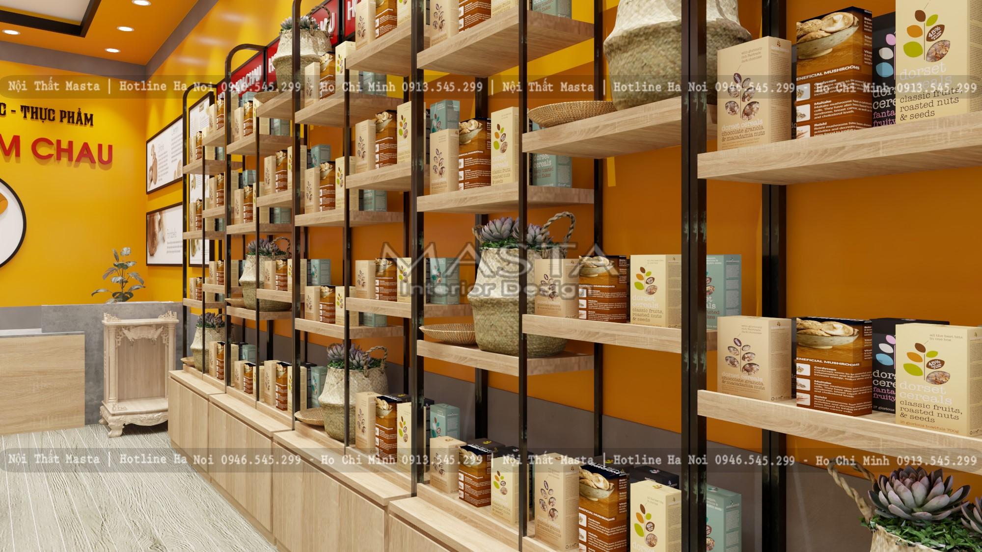 Sử dụng vật liệu phù hợp trong thiết kế shop thực phẩm