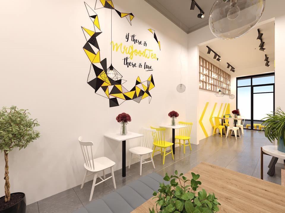 Không gian hiện đại trong thiết kế quán trà sữa Mr Good Tea