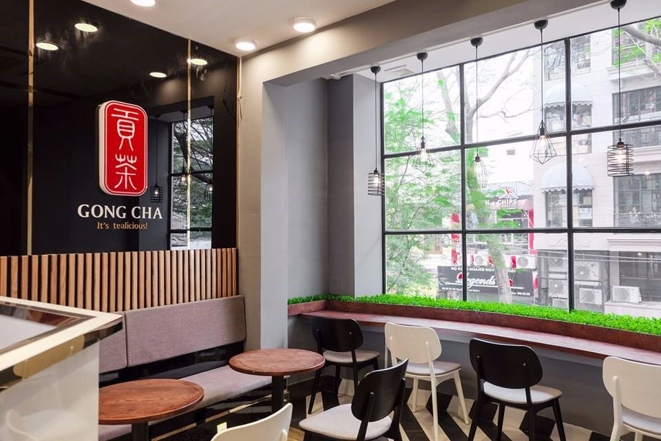Thiết kế không gian mở trong thiết kế tiệm trà sữa Gongcha