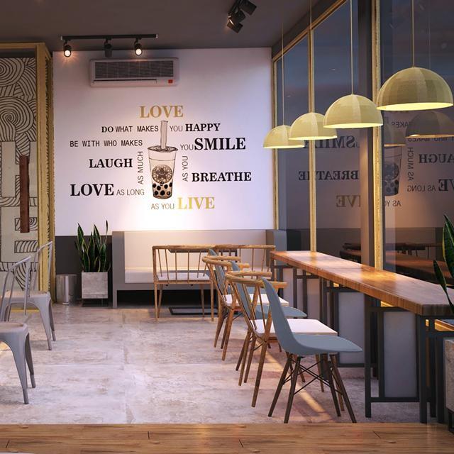 Thiết kế quán trà sữa xinh xắn