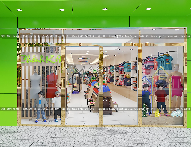 Sử dụng màu sắc tươi vui để tạo điểm nhấn trong thiết kế cửa hàng thời trang cho bé