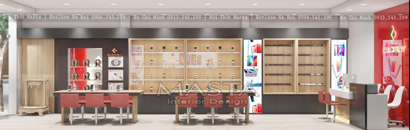 Tối ưu không gian trong thiết kế chuỗi cửa hàng điện thoại CLICK BUY