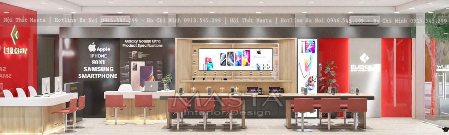 Thiết kế shop điện thoại sử dụng các vách alu trang trí bắt mắt