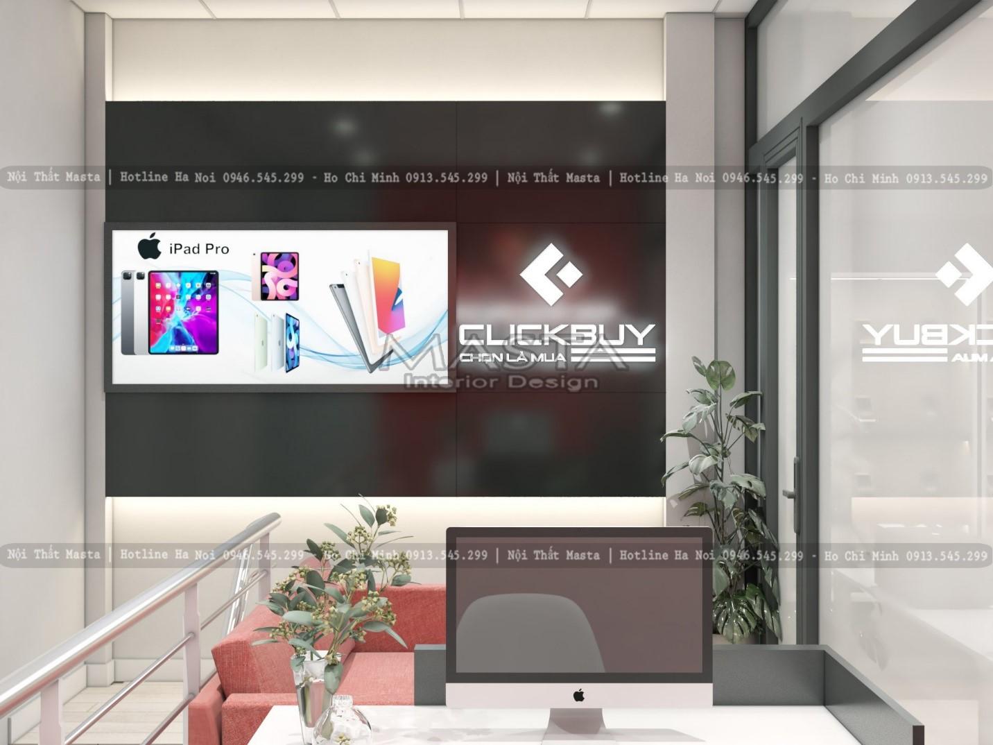 Hình ảnh thương hiệu thể hiện nhất quán trong thiết kế cửa hàng điện thoại CLICK BUY