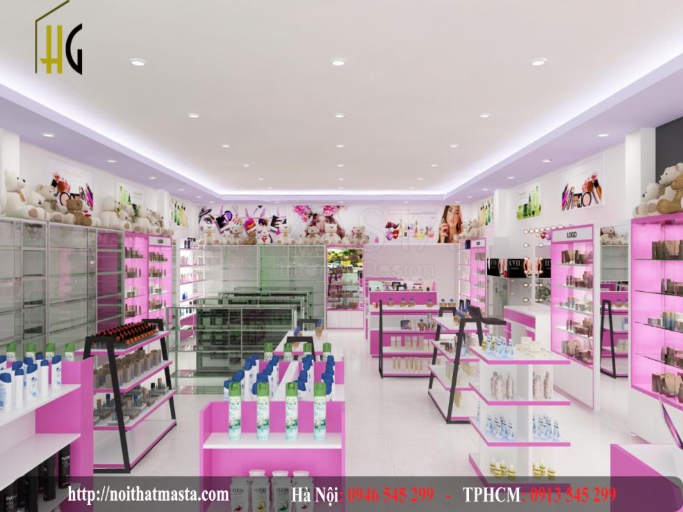 Sắc hồng tưởi trẻ cho cửa hàng mỹ phẩm