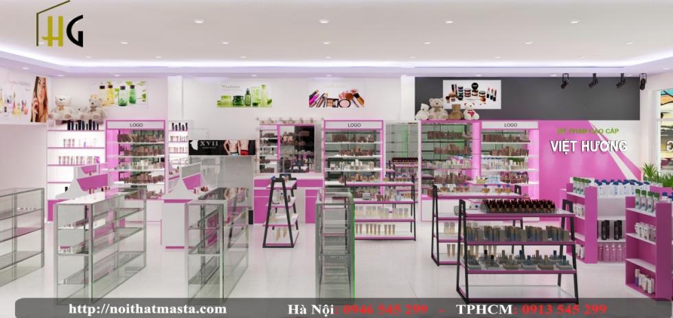 Kệ trưng bày sản phẩm trong thiết kế cửa hàng mỹ phẩm được sắp xếp khoa học