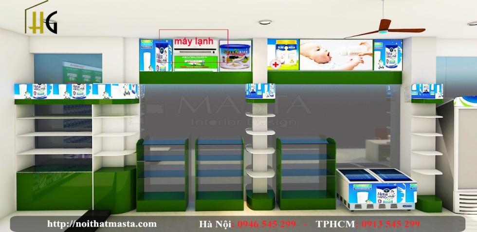 Thiết kế nội thất shop sữa - chị yến