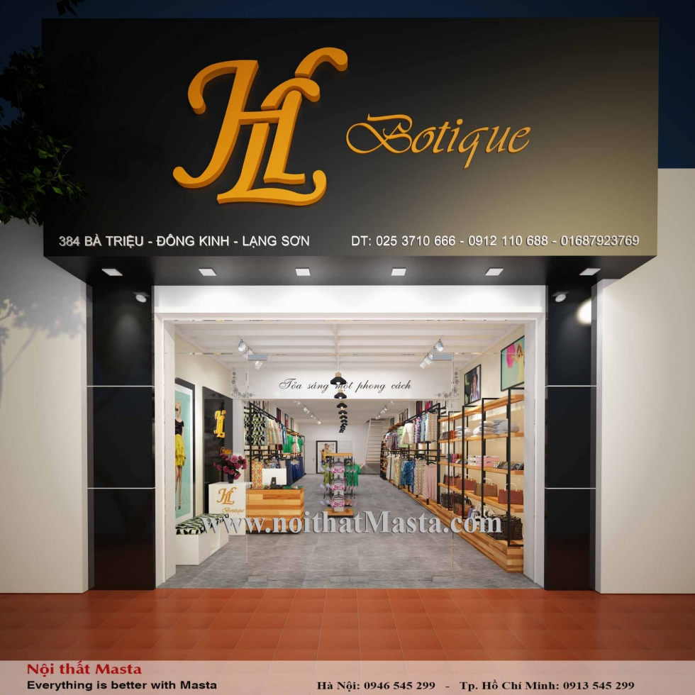 Thiết Kế Nội Thất Shop Thời Trang Nữ HL Boutique - Lạng Sơn