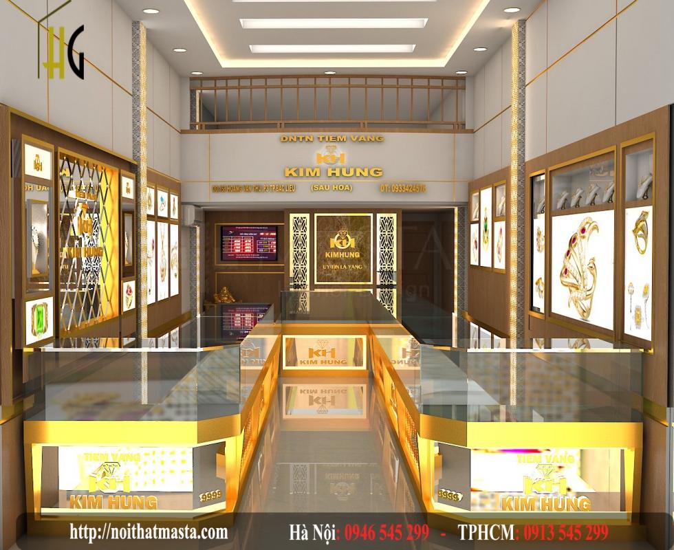 kệ trưng bày vàng bạc của shop vàng chịHuyền